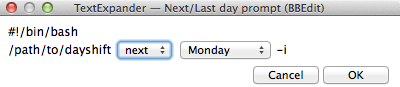 Screenshot of the dayshift fill-in TextExpander snippet