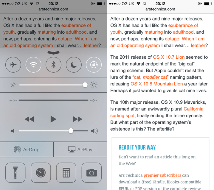 Side-by-side image showing the difference in brightness when the iOS7 Control Centre is shown and hidden