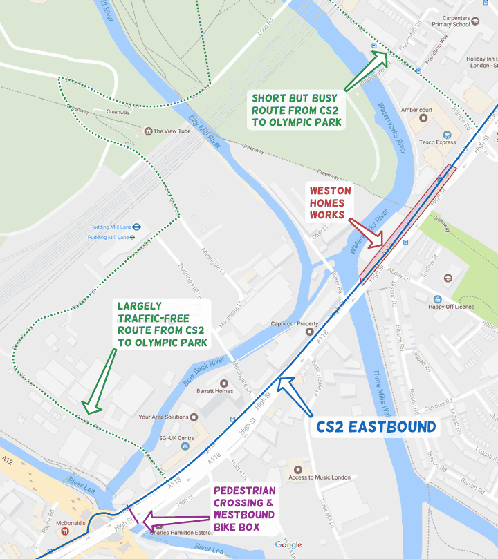 A map of the lower section of the Olympic Park and Stratford High Street